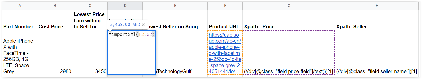 Automatically get prices from Souq com to your Google sheet